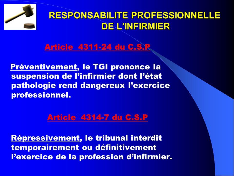 RESPONSABILITE PROFESSIONNELLE DE L'INFIRMIER