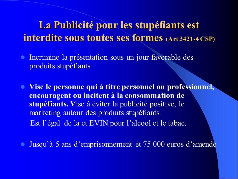 La Publicité pour les stupéfiants est interdite sous toutes ses formes (Art 3421-4 CSP)