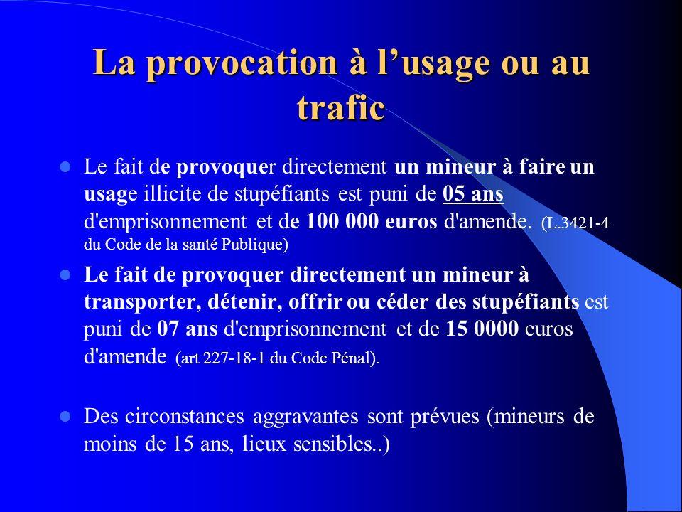 La provocation à l'usage ou au trafic
