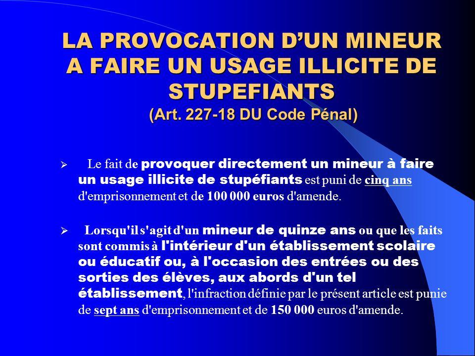 LA PROVOCATION D'UN MINEUR A FAIRE UN USAGE ILLICITE DE STUPEFIANTS (Art. 227-18 DU Code Pénal)