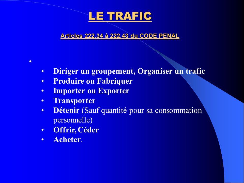 LE TRAFIC Articles 222.34 à 222.43 du CODE PENAL