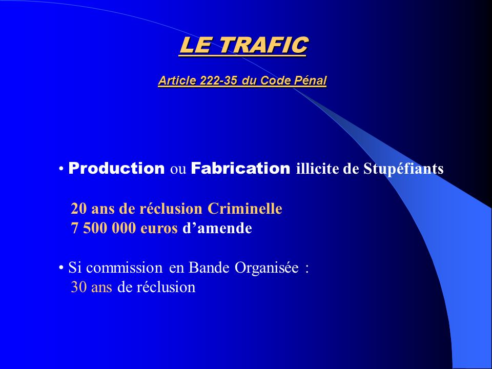 LE TRAFIC Article 222-35 du Code Pénal