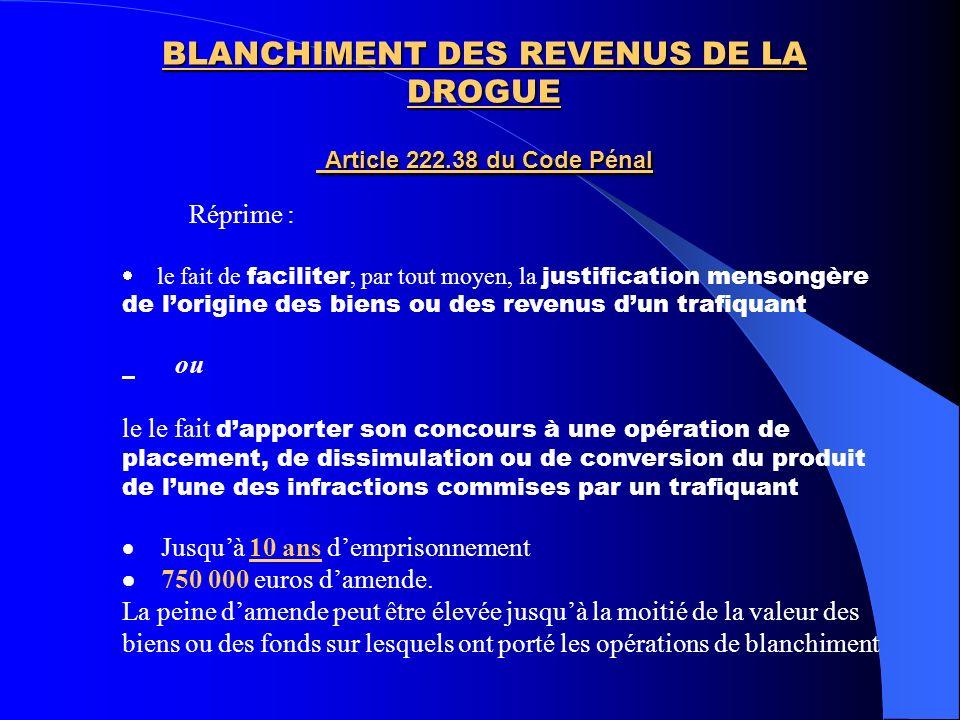 BLANCHIMENT DES REVENUS DE LA DROGUE Article 222.38 du Code Pénal