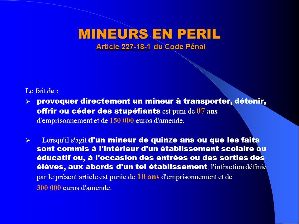 MINEURS EN PERIL Article 227-18-1 du Code Pénal