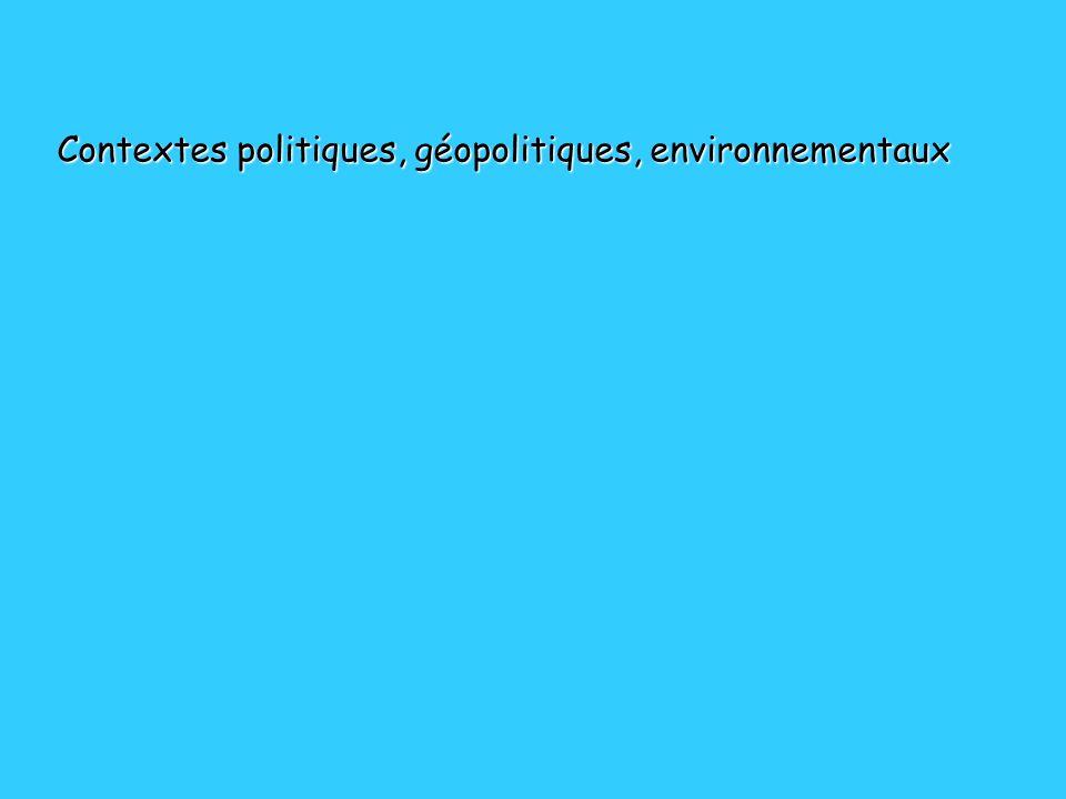 Contextes politiques, géopolitiques, environnementaux