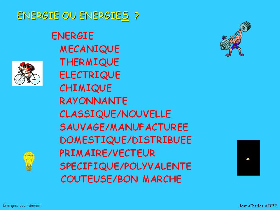 ENERGIE OU ENERGIES Énergies pour demain Jean-Charles ABBE