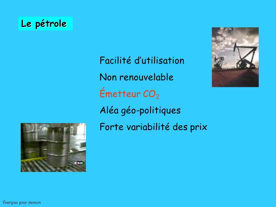 Facilité d'utilisation Non renouvelable Émetteur CO2