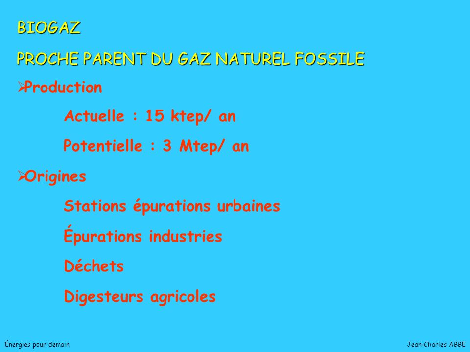 PROCHE PARENT DU GAZ NATUREL FOSSILE Production Actuelle : 15 ktep/ an