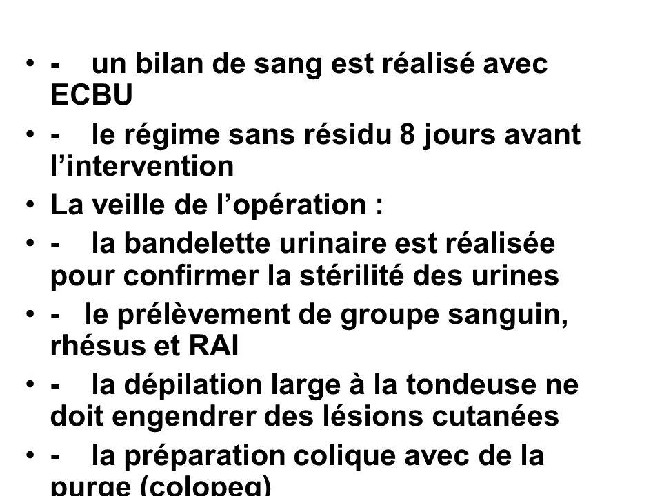 - un bilan de sang est réalisé avec ECBU