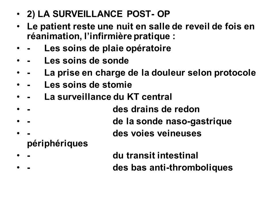 2) LA SURVEILLANCE POST- OP