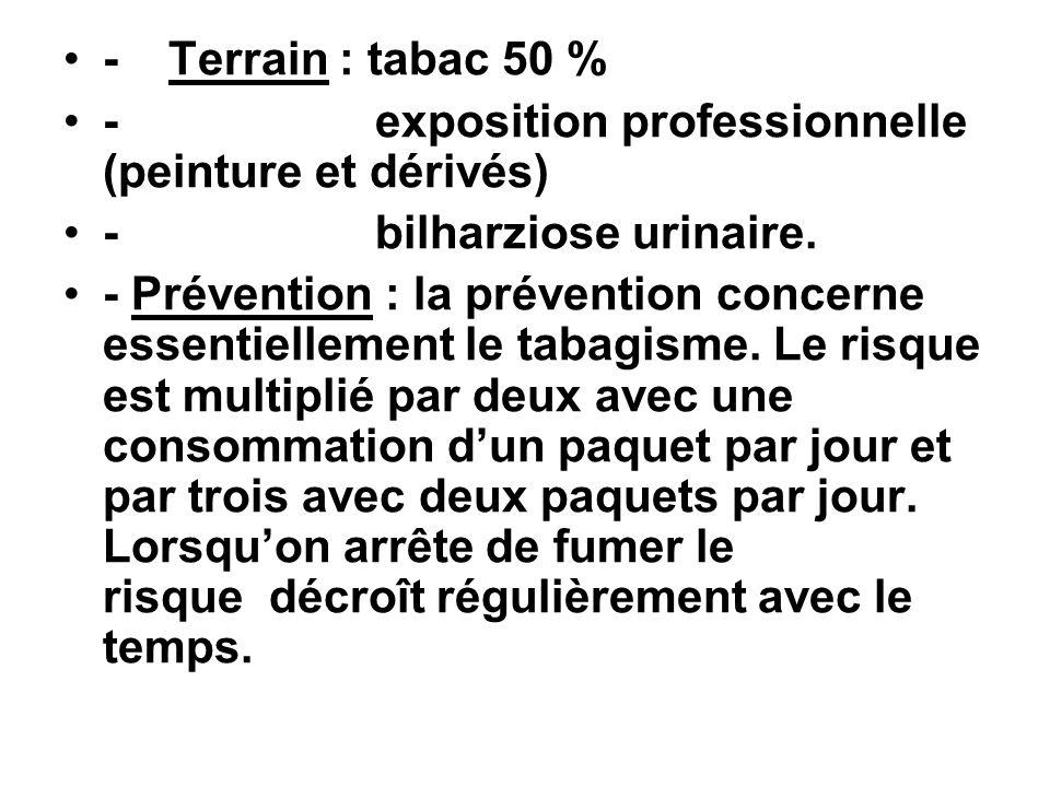 - Terrain : tabac 50 % - exposition professionnelle (peinture et dérivés) - bilharziose urinaire.