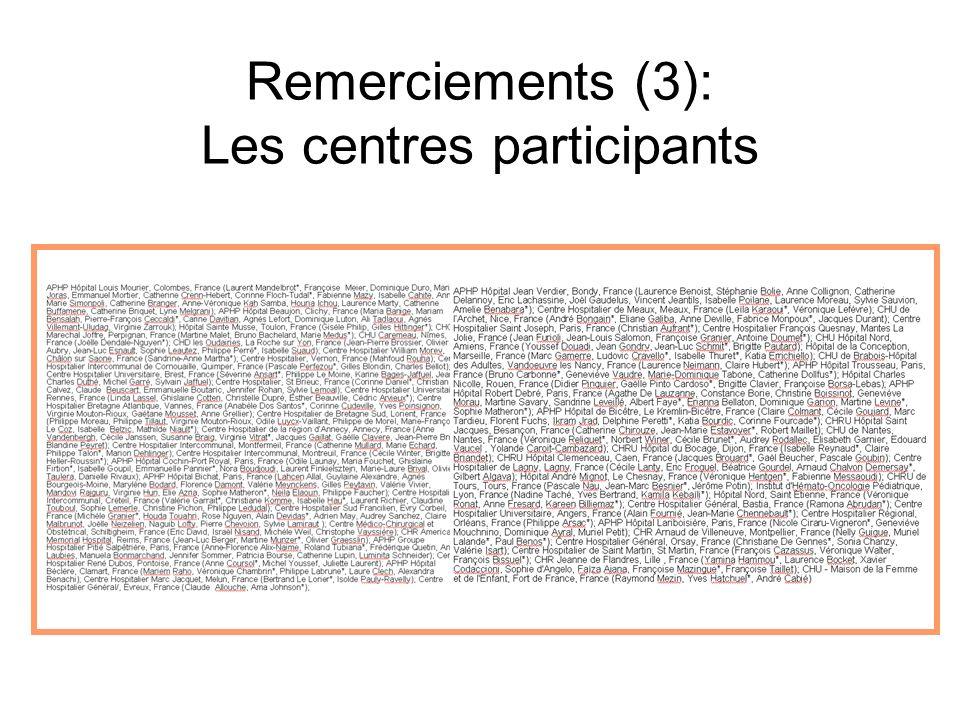 Remerciements (3): Les centres participants