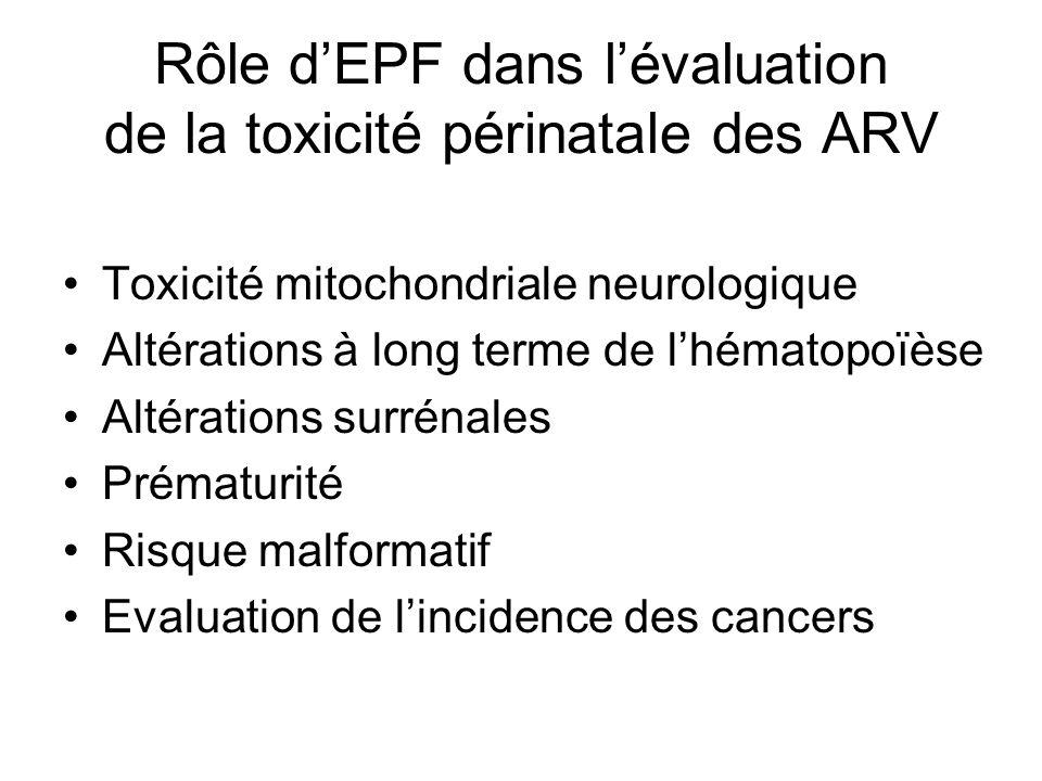 Rôle d'EPF dans l'évaluation de la toxicité périnatale des ARV
