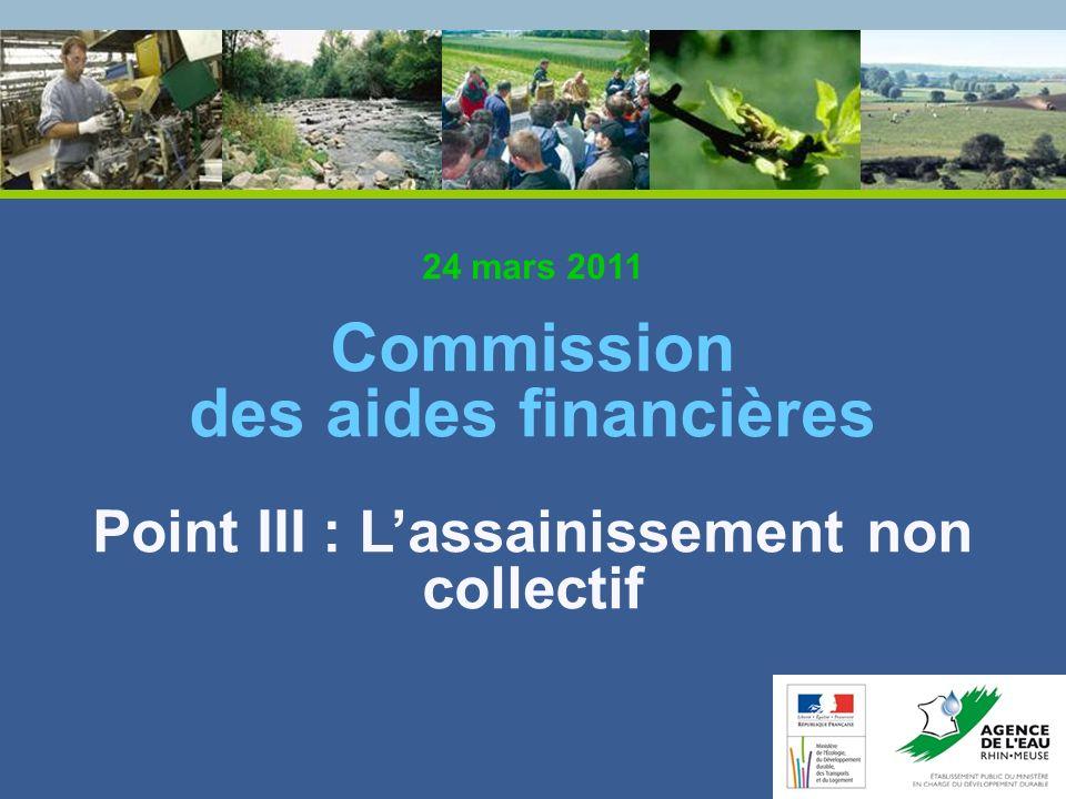 24 mars 2011 Commission des aides financières Point III : L'assainissement non collectif