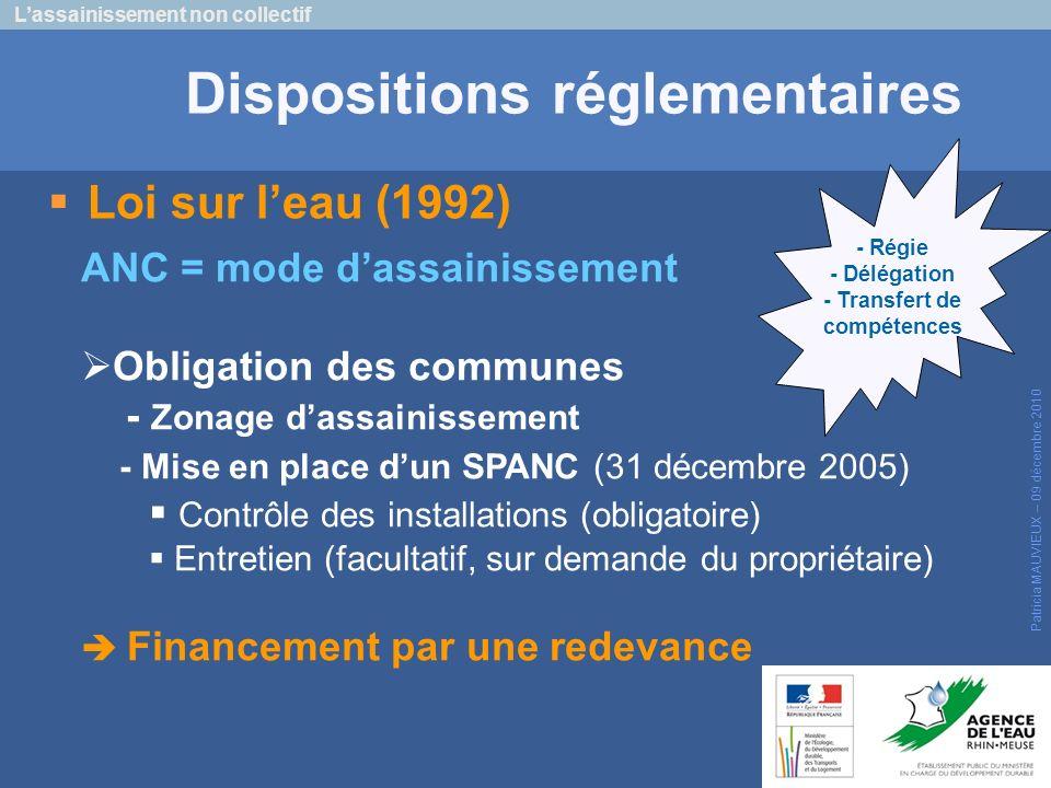 Dispositions réglementaires - Transfert de compétences