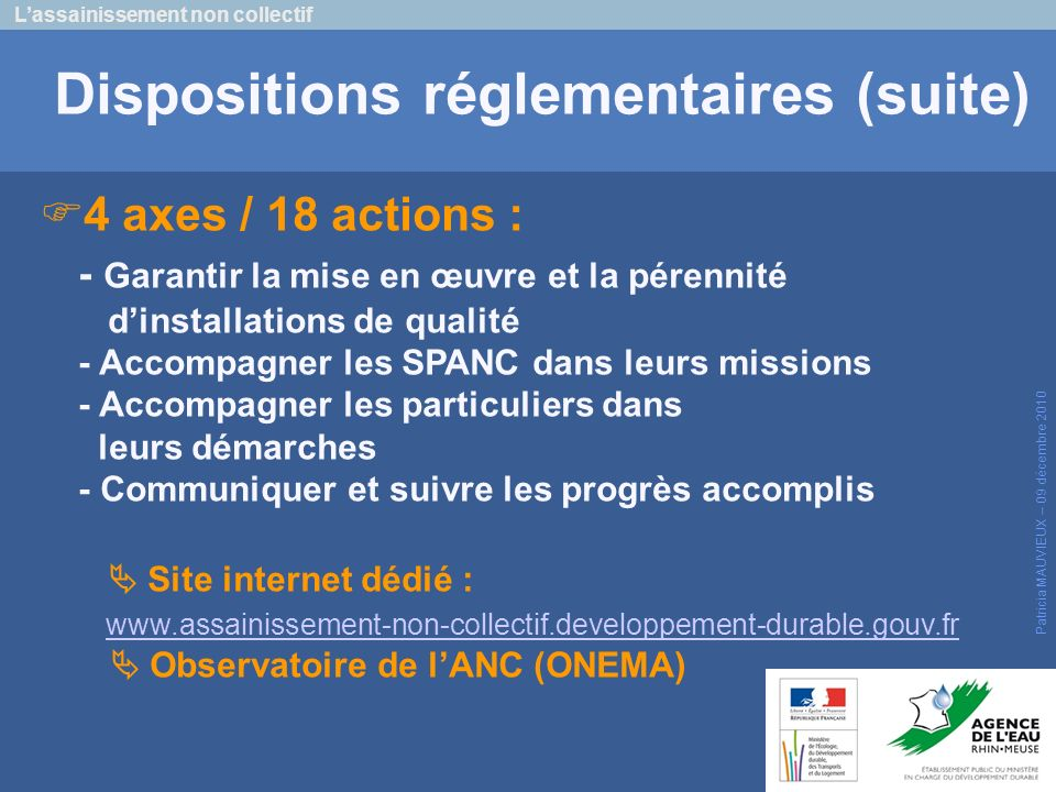 Dispositions réglementaires (suite)