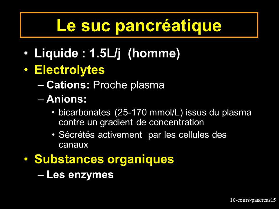 Le suc pancréatique Liquide : 1.5L/j (homme) Electrolytes