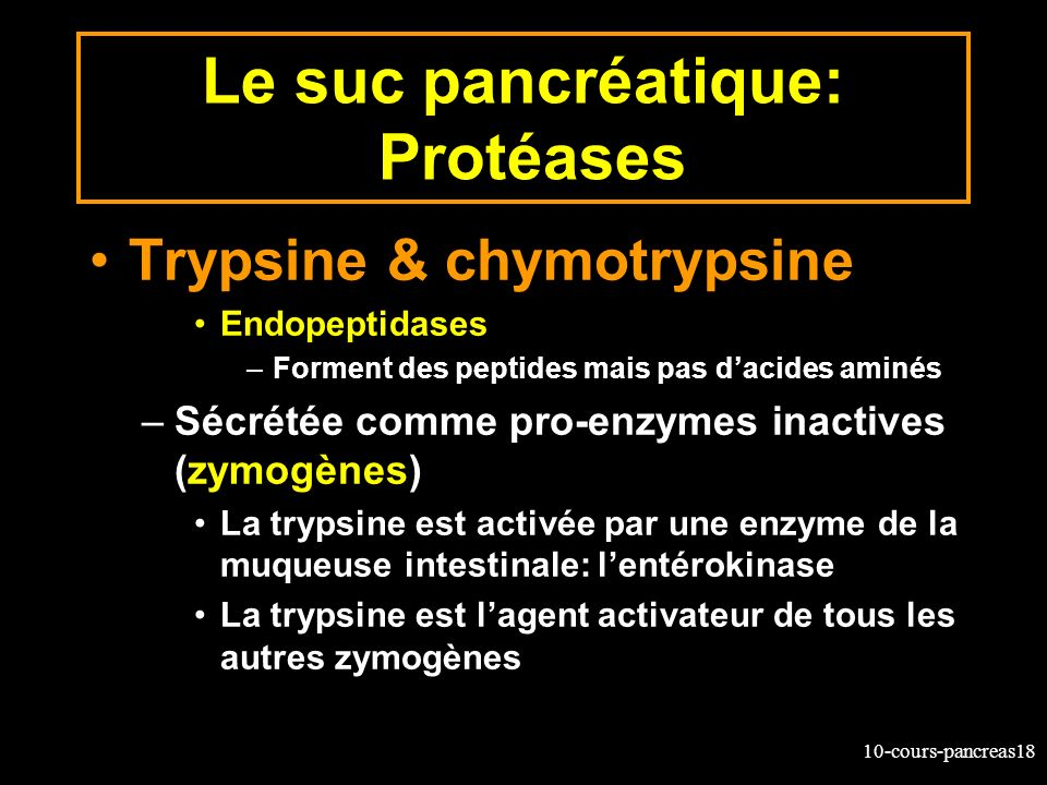 Le suc pancréatique: Protéases