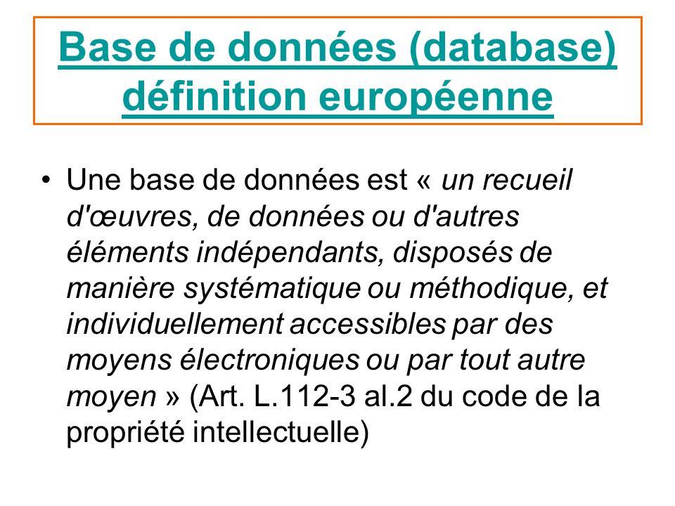 Base de données (database) définition européenne