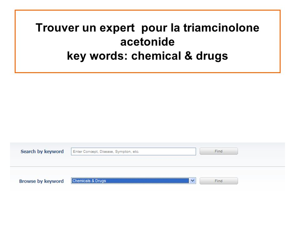 Trouver un expert pour la triamcinolone acetonide key words: chemical & drugs