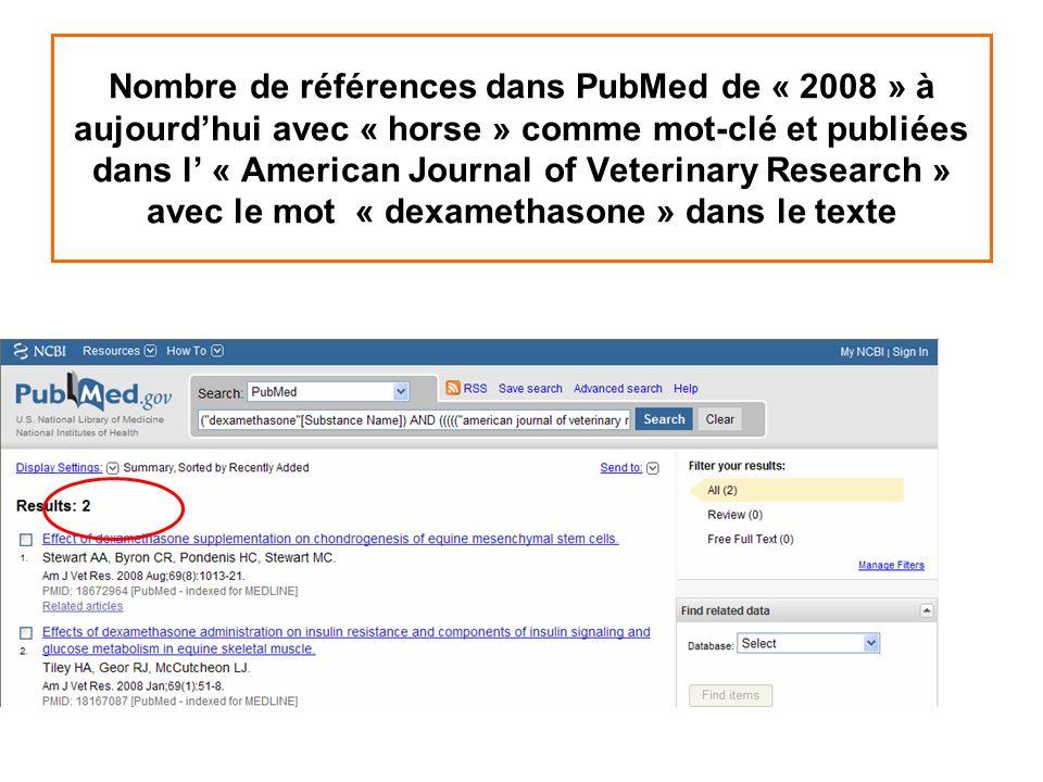 Nombre de références dans PubMed de « 2008 » à aujourd'hui avec « horse » comme mot-clé et publiées dans l' « American Journal of Veterinary Research » avec le mot « dexamethasone » dans le texte