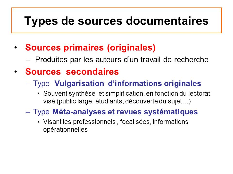 Types de sources documentaires