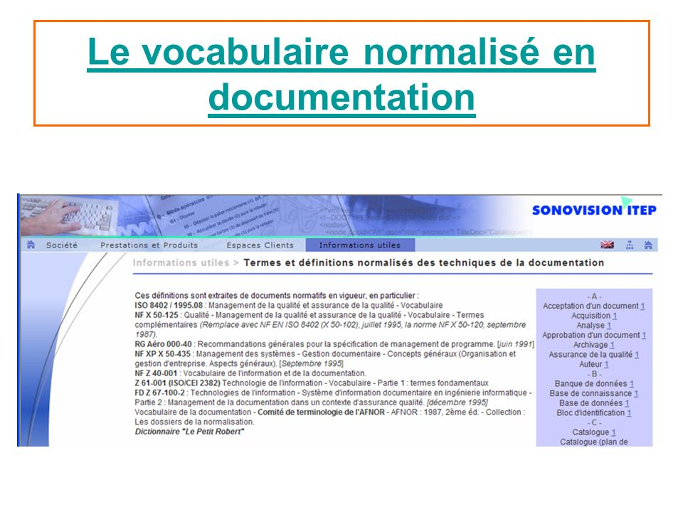 Le vocabulaire normalisé en documentation
