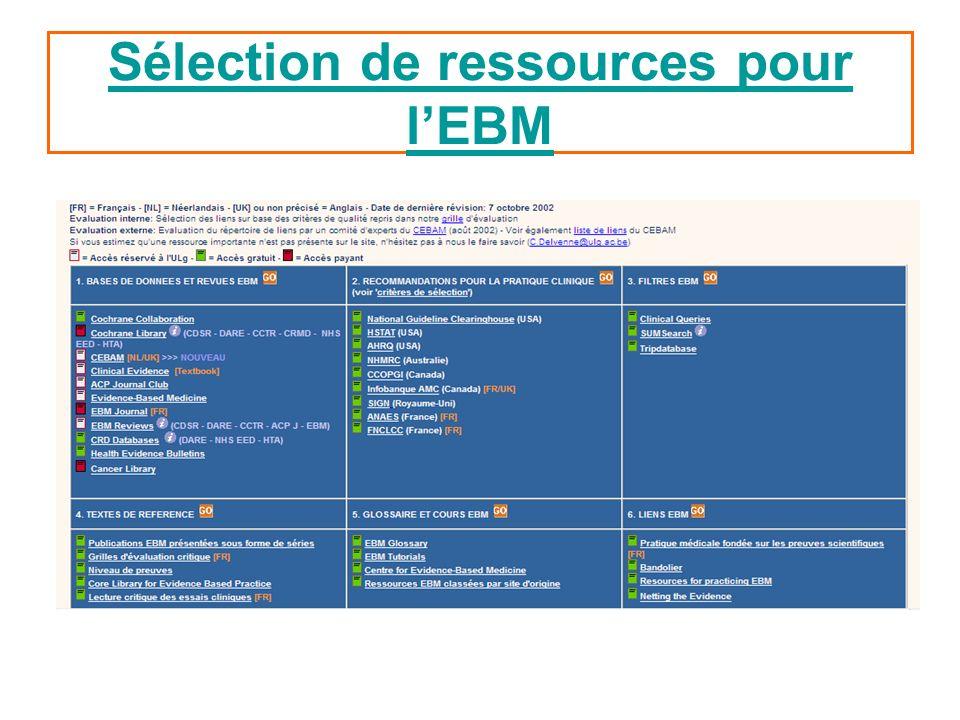 Sélection de ressources pour l'EBM