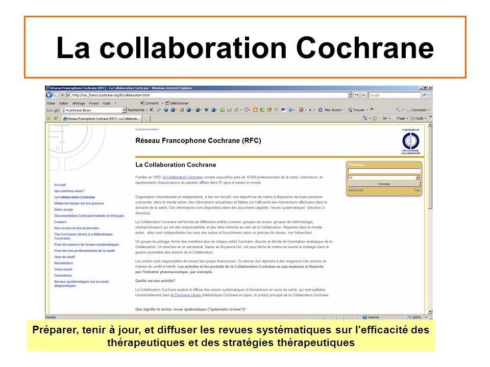 La collaboration Cochrane