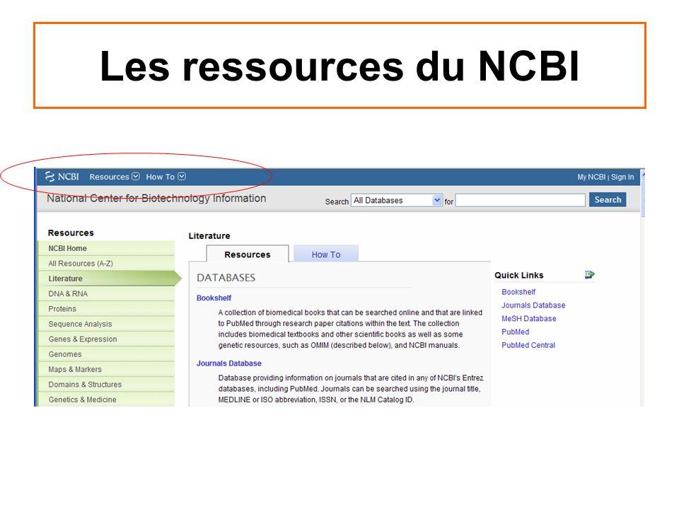Les ressources du NCBI