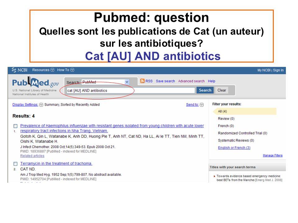 Pubmed: question Quelles sont les publications de Cat (un auteur) sur les antibiotiques.