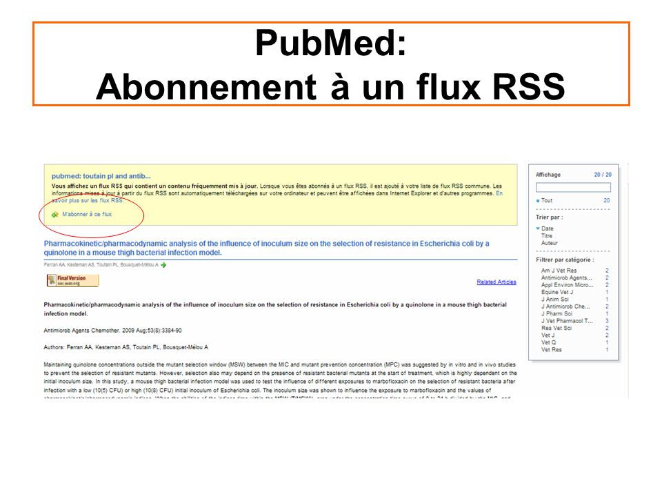 PubMed: Abonnement à un flux RSS