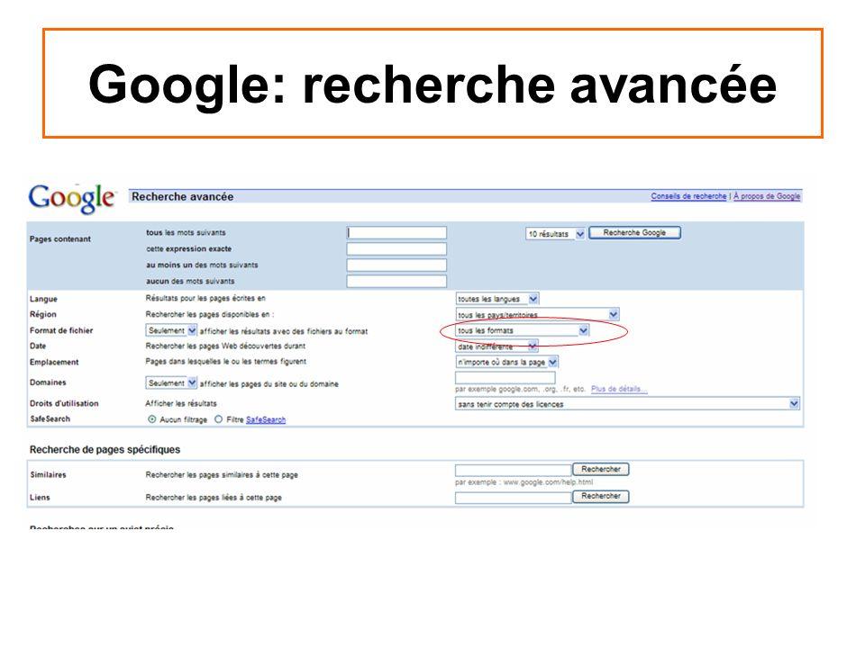 Google: recherche avancée