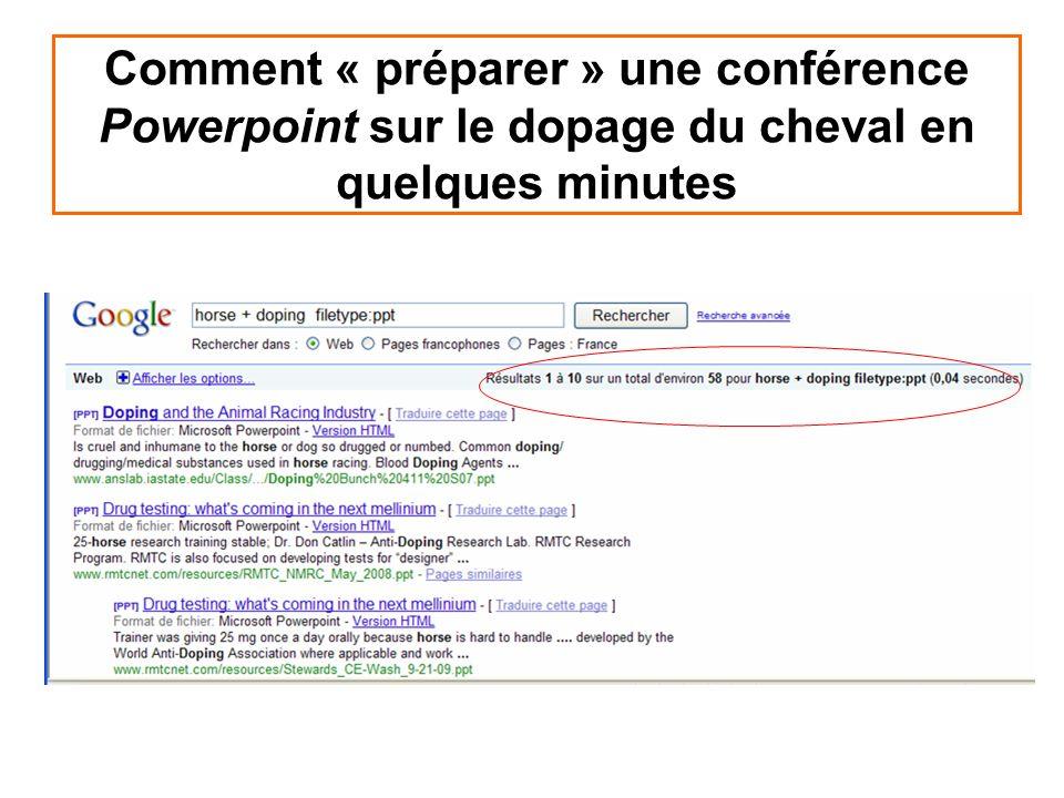 Comment « préparer » une conférence Powerpoint sur le dopage du cheval en quelques minutes
