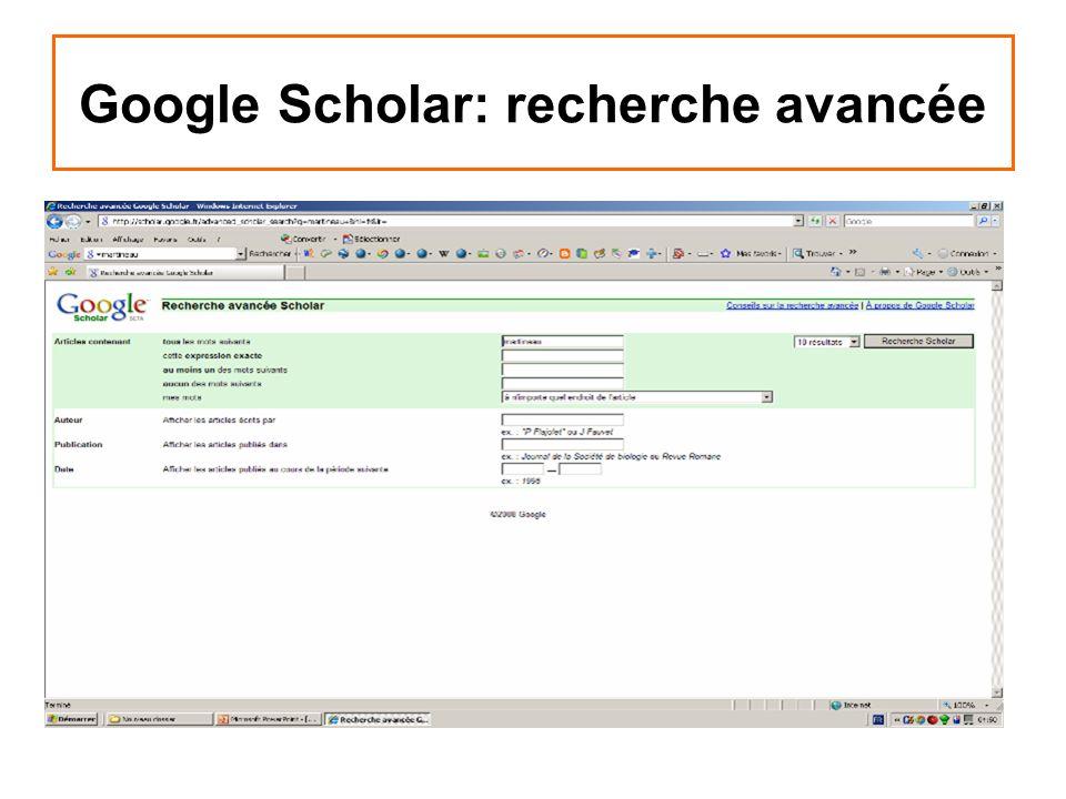 Google Scholar: recherche avancée