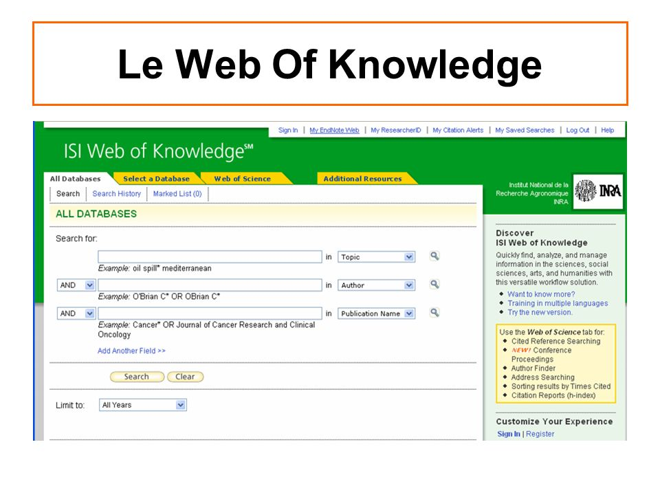 Le Web Of Knowledge