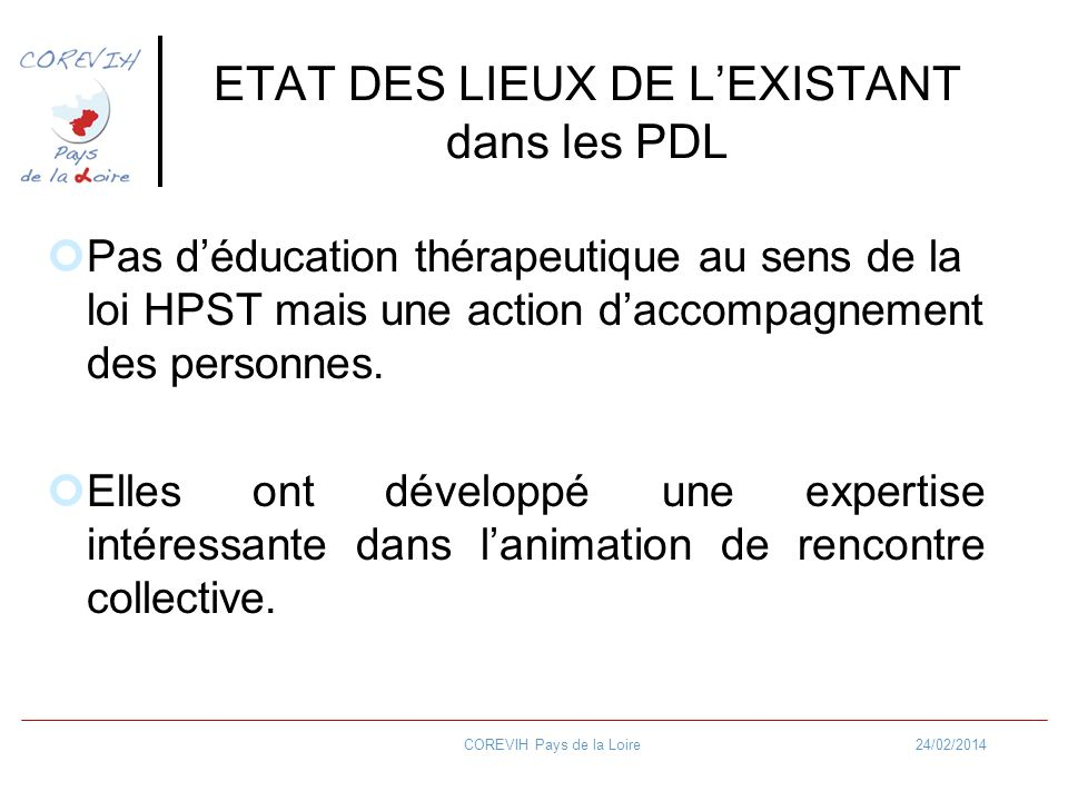 ETAT DES LIEUX DE L'EXISTANT dans les PDL