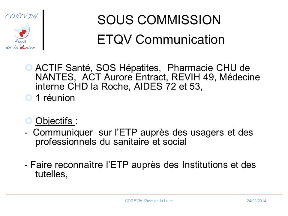 SOUS COMMISSION ETQV Communication