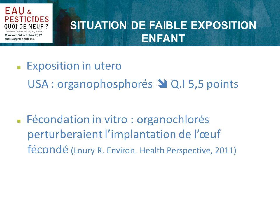 SITUATION DE FAIBLE EXPOSITION ENFANT