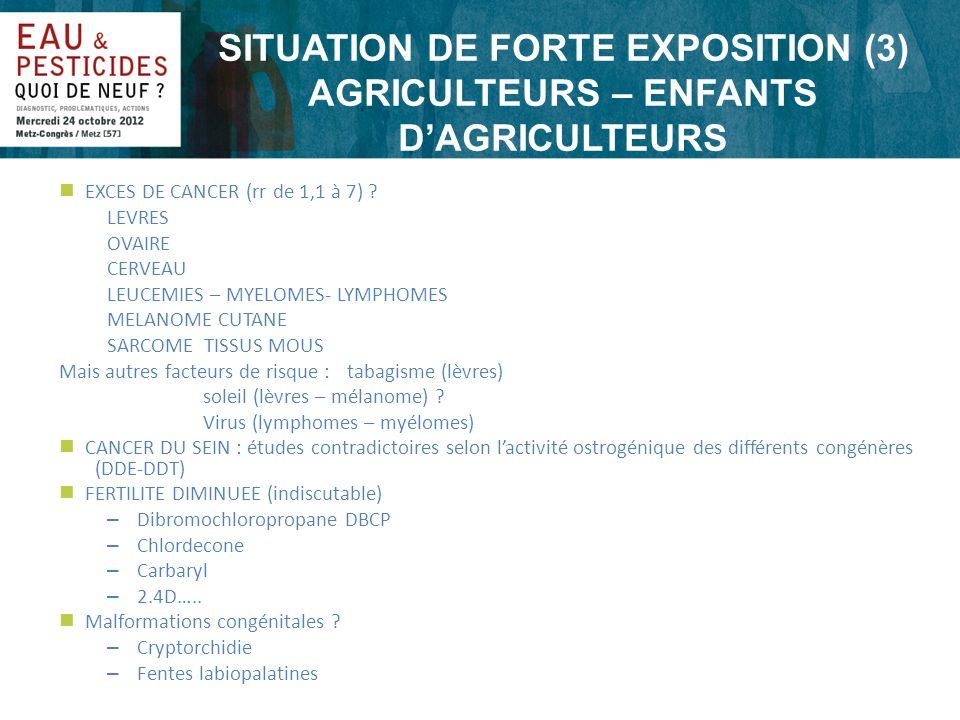 SITUATION DE FORTE EXPOSITION (3) AGRICULTEURS – ENFANTS D'AGRICULTEURS