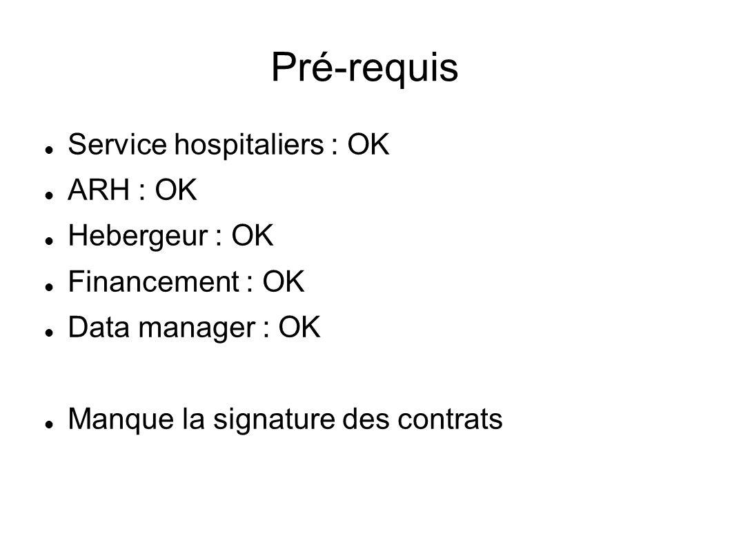 Pré-requis Service hospitaliers : OK ARH : OK Hebergeur : OK
