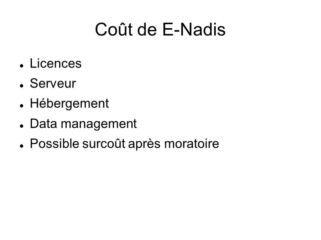 Coût de E-Nadis Licences Serveur Hébergement Data management