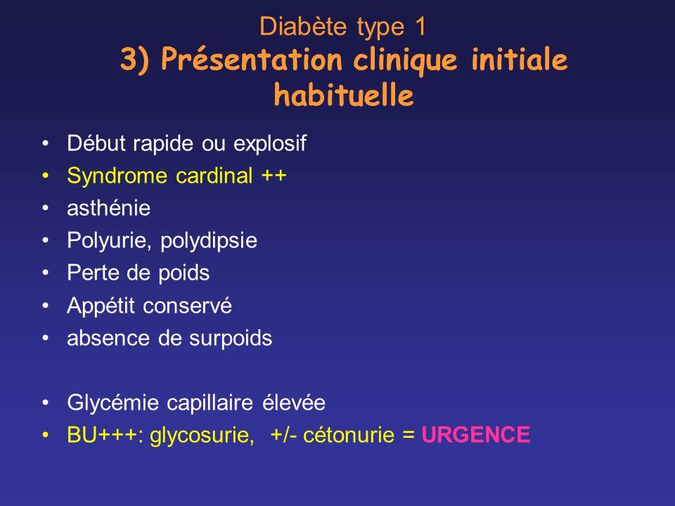 Diabète type 1 3) Présentation clinique initiale habituelle