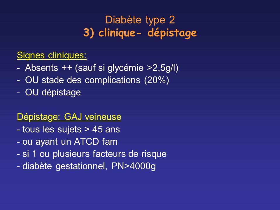 Diabète type 2 3) clinique- dépistage