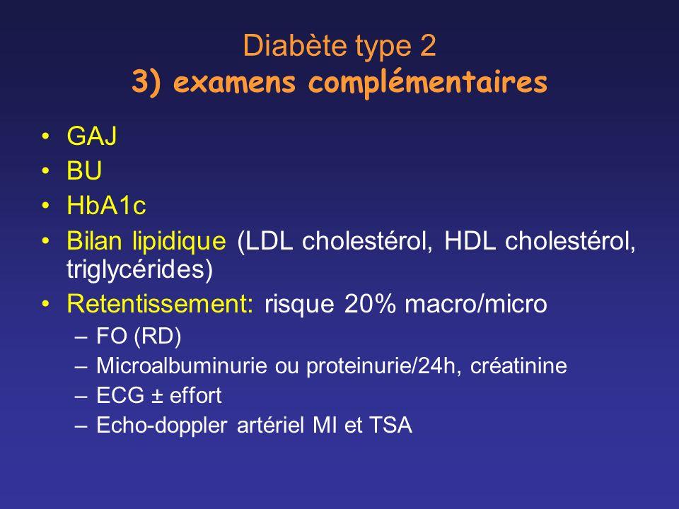 Diabète type 2 3) examens complémentaires