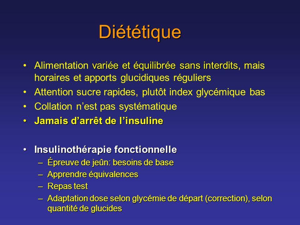 Diététique Alimentation variée et équilibrée sans interdits, mais horaires et apports glucidiques réguliers.