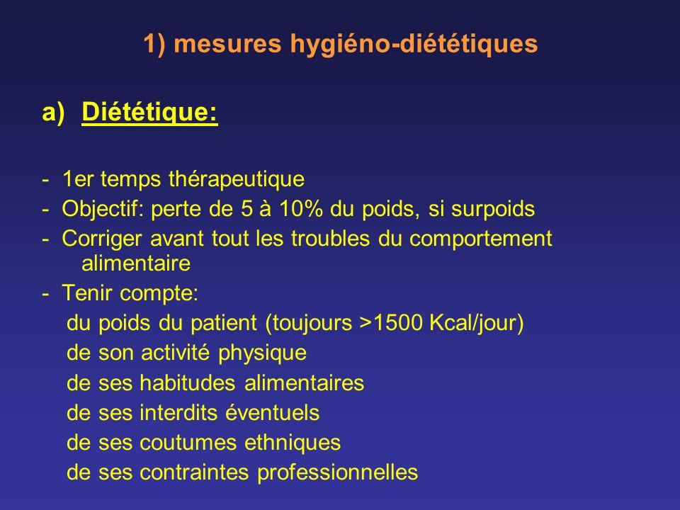 1) mesures hygiéno-diététiques