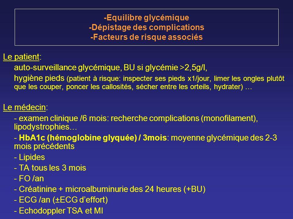 -Equilibre glycémique -Dépistage des complications -Facteurs de risque associés
