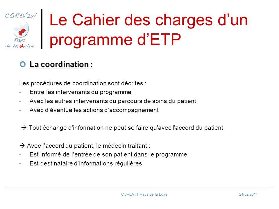 Le Cahier des charges d'un programme d'ETP