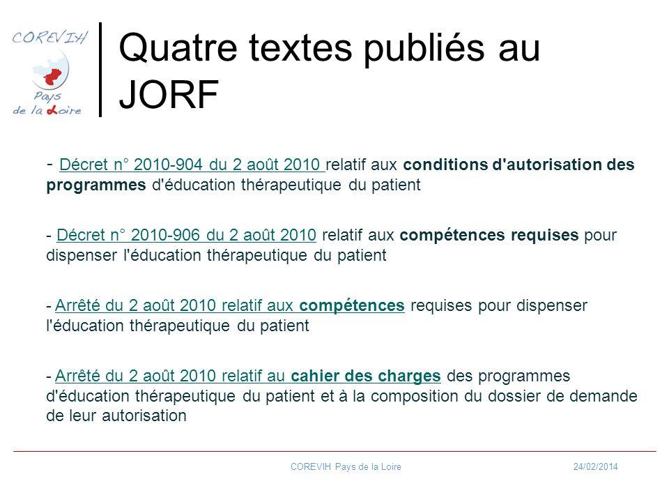 Quatre textes publiés au JORF